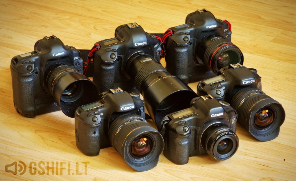 Fotoaparatai objektyvai Canon Sigma 1Ds 1D 5D 7D